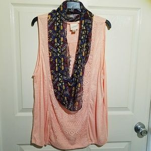 NWT 2X Boho peach sleeveless top w scarf